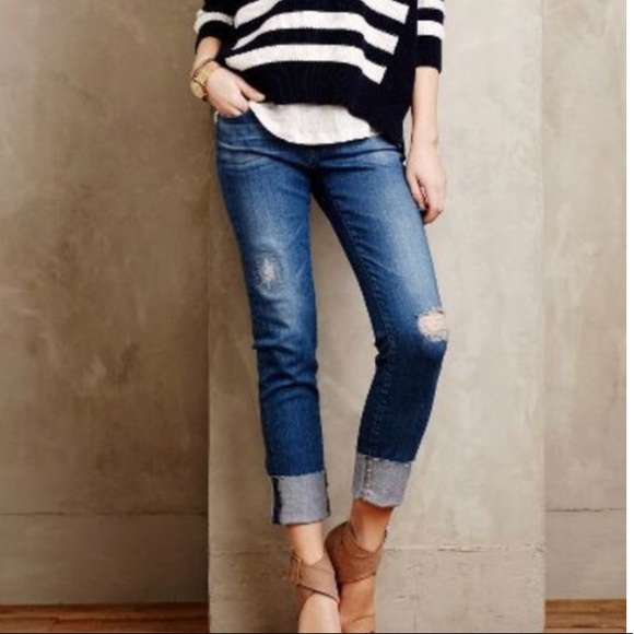 169c48db237a Anthropologie Jeans | Ag The Stevie Cuff Slim Straight Cuffed Crop ...